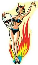 Hot Rod  Pin-Up Bathing Beauty Devil    Vintage-Looking     Travel Sticker/Decal