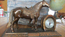 Vintage Western Horse Session Clock with Fancy Parade Saddle~ Horseshoe ~Brands!