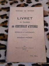 Livret du candidat au certificat d'études - Diocèse de Rennes - 1938