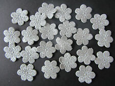 20 x Silver Glittered Fabric Flower Embellishments For Cardmaking & Scrapbooking