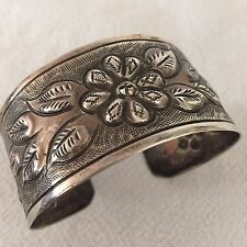 Vintage MEXICO Hand-Stamped & Repoussé Sterling Silver Cuff BRACELET Flowers