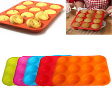 Silicone Nonstick 12 Cups Muffin Pan Cupcake Tray Cake Baking Mold New