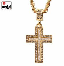 """Men's 14k Gold Plated Iced Out Cross Pendant 24"""" 4mm Rope Chain Set HC 2052 G"""
