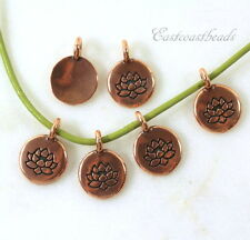 TierraCast Lotus Flower Charms, Antiqued Copper Plated Lead Free Pewter, 6 Piece