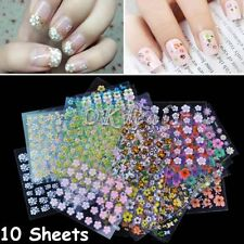 Tips Decal Fashion 10 Sheets Manicure Nail Decoration 3D DIY Nail Stickers