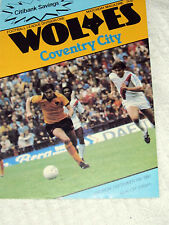 Football Programme Wolverhampton Wanderers V Coventry City 13/09/80