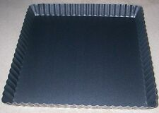 "Loose Base Bottom Tart Tartlet Fluted Quiche Cake Baking Tins  SQUARE  9"" X 1"""