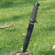 "15"" SURVIVAL HUNTING Full Tang FIXED Black BLADE KNIFE Machete Axe w/ SHEATH"