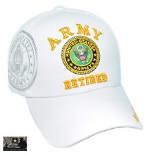US Army Retired White Ball Cap Infantry Armor Cavalry Airborne Cav Engineer Hat