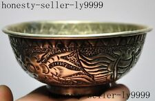 old chinese tibet silver Hand-carved flower Bat Bowl Cup statue