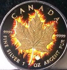 2014 CAN SILVER DOLLAR FIRE MAPLE 24K GOLD BLACK PLATINUM LOW MINTAGE SERIAL # 6