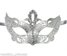 Men's White Silver Masquerade Mask 50 Shades Of Grey Inspired Unisex PM010WHSL