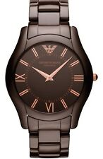 Emporio Armani Men's AR1444 Ceramic Brown Rose Gold Tone Slim Watch