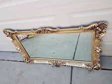 VTG Massive Ornate Hollywood Regency Style Frame Mirror Gold Gilt Floral Wing