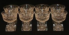 8 Kosta Boda Sweden Cut Crystal Glass Square Foot Base Stems Wine Water Goblet