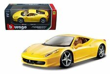 BBURAGO 1/24 FERRARI RACE & PLAY FERRARI 458 ITALIA DIECAST CAR 18-26003 YELLOW