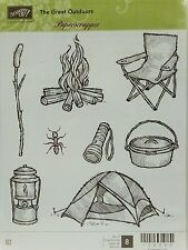 Stampin Up THE GREAT OUTDOORS clear mount stamps NEW fire camping tent lantern