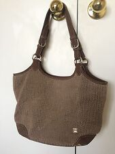 The Sak Tan Brown Tightly Woven Knit Shoulder Bag Purse Tote Adjustable Strap