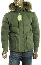 New Mens Jet Lag Olive Faux Fur Hooded Parka Jacket M
