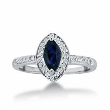 14K WHITE GOLD 1CT MARQUISE BLUE SAPPHIRE AND DIAMOND HALO RING