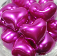 5Pcs Rose Acrylic Heart Shape Big Hole Loose Spacer Beads Jewelry Making 24X20mm