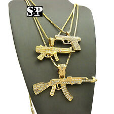 "HIP HOP ICED OUT 3 GOLD PT GUN COLLECTION PENDANT W/ 24"", 30"" BOX CHAIN NECKLACE"