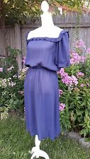 Vintage Woman's Ladies Navy Dress Conservative Amish - Church Girl School Collar