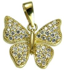 SOLID 14K YELLOW GOLD SPARKLY BLING BLING CLEAR CZ BUTTERFLY PENDANT 14.5MM