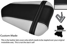 BLACK & WHITE CUSTOM 07-08 FITS YAMAHA 1000 YZF R1 REAR LEATHER SEAT COVER