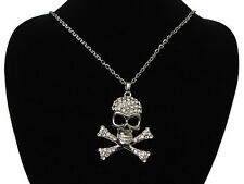 CZ Crystal Rhinestones Skeleton Skull Necklace Pendant