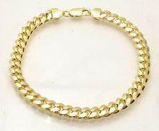 "8.25"" Italian Solid Miami Cuban Bracelet 14K Yellow Gold Clad Sterling Silver"