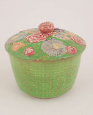 Small Pottery Bowl w/Lid Japan Crackle Glaze Flowers & Brick Pattern Green