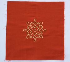 """Red Rangoli Applique on Cotton from India. Hand Embroidered. 8¼"""" x 3¼ """""""