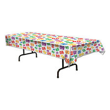 60th Celebration Plastic Tablecover - 137 x 274cm - Birthday Party Decoration