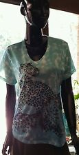 White Stag tee in turquoise, white & blue tie dye with 2 leopards. Sz 20