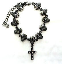 Butler and Wilson Pewter Crystal 11 Skull & Cross HALLOWEEN Bracelet NEW