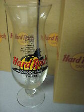 "Very Rare Hard Rock Cafe HRC 9 1/4"" Hurricane Recipe Glass & Box TAIPEI Bold Red"