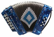 Rossetti 3412 34 Button 3 Switch 12 Bass GCF Sol Accordion - Blue with Case!