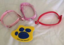 Lot of 4 Build A Bear 3 Dog Collars  Red & 2 Pink W/Rhinestones & Dog Brush