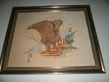 Vintage American Eagle Painting on Fabric - Signed by Elizabeth Mitchell - 1974