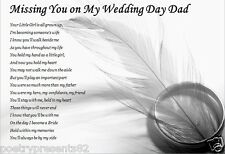 DAD.... - Missing You On My Wedding Day (laminated poem) father of the bride