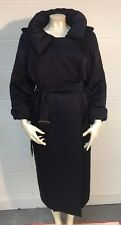 Stunning LANVIN Hiver 2006 Navy Silky Belted Trench Coat UK12 EU40