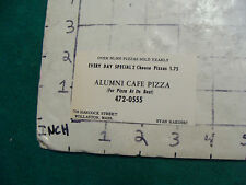 Vintage BUSINESS CARD: ALUMNI CAFE PIZZA wollaston Mass, 1974 stamped HOVERCRAFT