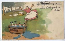 Two Little Girls in Blue vintage comic postcard by Tom Browne - 1911
