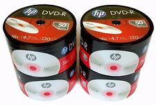 200 HP Blank DVD-R DVDR Logo Branded 4.7GB 16X Media Disc FREE 100 Sleeves!