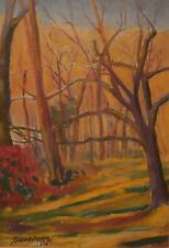 Woods in My Back Yard Landscape Oil Painting-1996-August Mosca