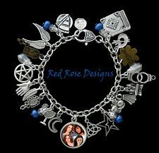 ~CHARMED THEMED CHARM BRACELET, POWER OF THREE, PRUE, PHOEBE, PIPER, PAIGE