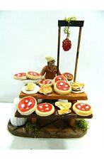 Scena Pizzaiolo in Terracotta + Pastore Cm 10 Mestiere Venditore Pizze Presepe