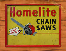 "TIN-UPS TIN SIGN ""Homelite Chain Saws"" Vintage Rustic Wall Decor"