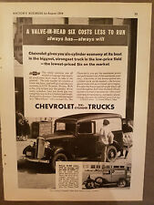 1934 Chevrolet Six Cylinder Trucks Valve in Head Six Cost Less Run Original Ad
